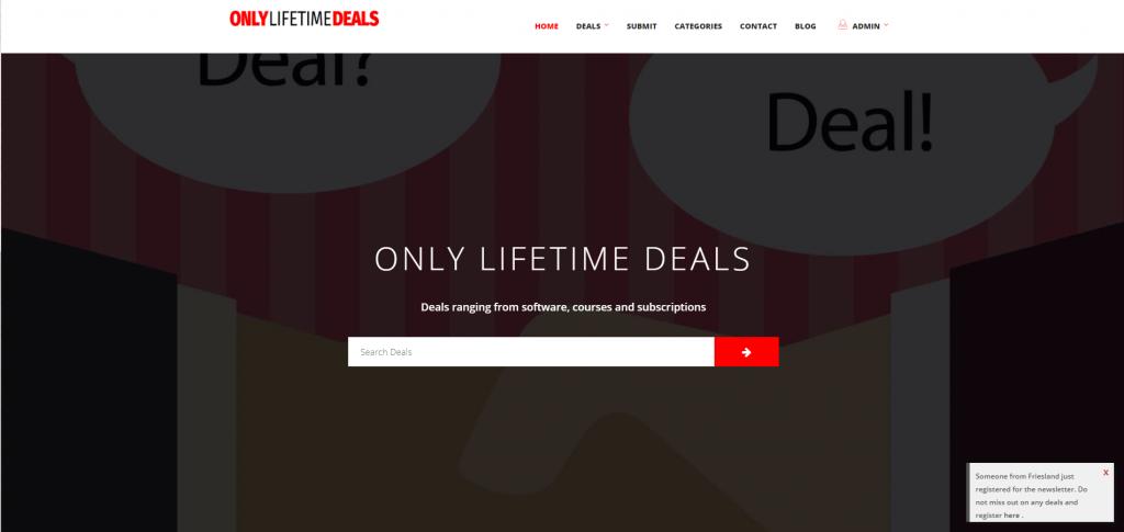 Sales Coupons Deals Only Lifetime Deals website