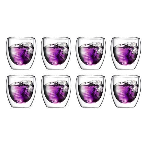 Bodum Pavina Double Wall Glasses Medium 250ml Box of 8