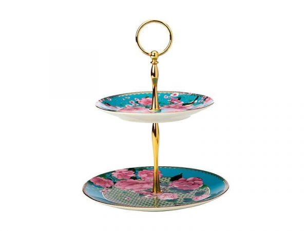 Kitchen Style - Maxwell & Williams Silk Road 2 Tier Cake Stand Aqua Gift Boxed - Kitchen Supplies