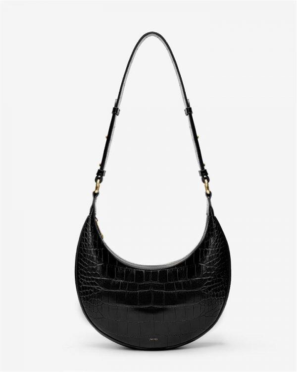 JW PEI - Carly Saddle Bag - Black Croc - Apparel & Accessories > Handbags