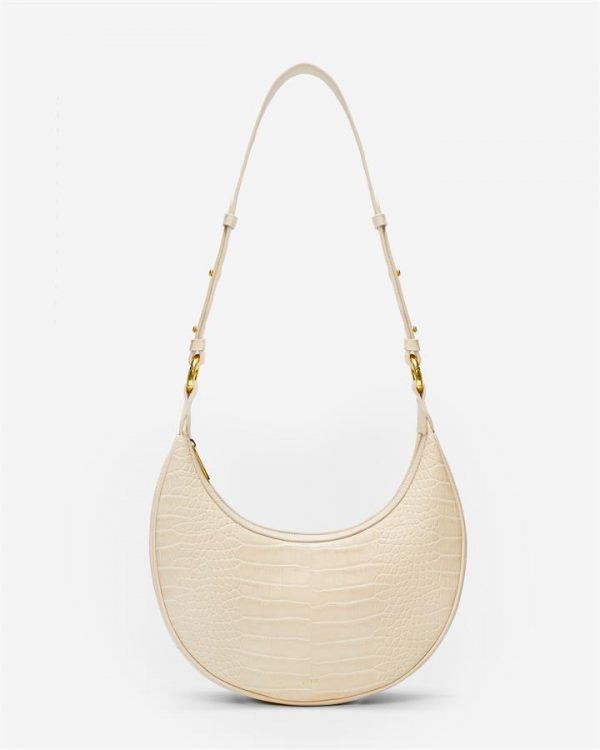 JW PEI - Carly Saddle Bag - Ivory Croc - Apparel & Accessories > Handbags