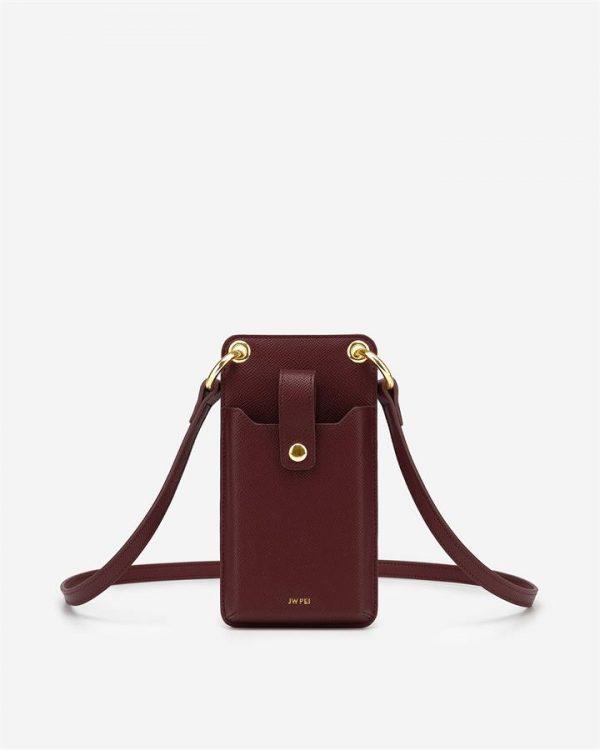 JW PEI - Quinn Phone Bag - Burgundy Grained Vegan Leather - Apparel & Accessories > Handbags
