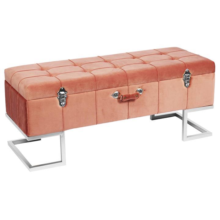 Bardia Velvet Fabric Storage Ottoman Bench, Blush / Silver