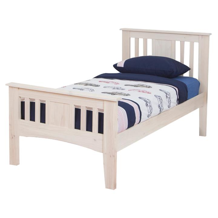 Byron Pine Timber Bed, Single, Vanilla