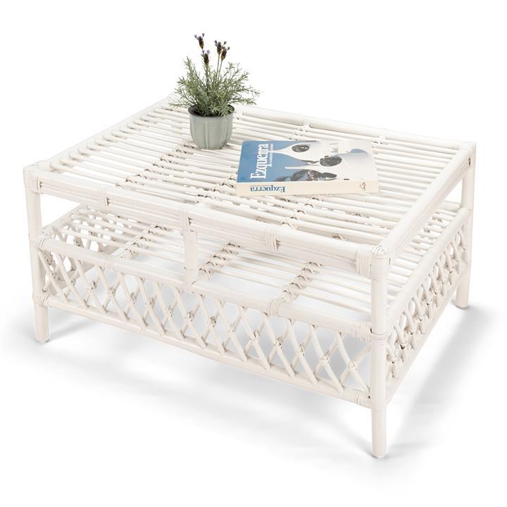 Charlotte Rattan Coffee Table, 90cm, White
