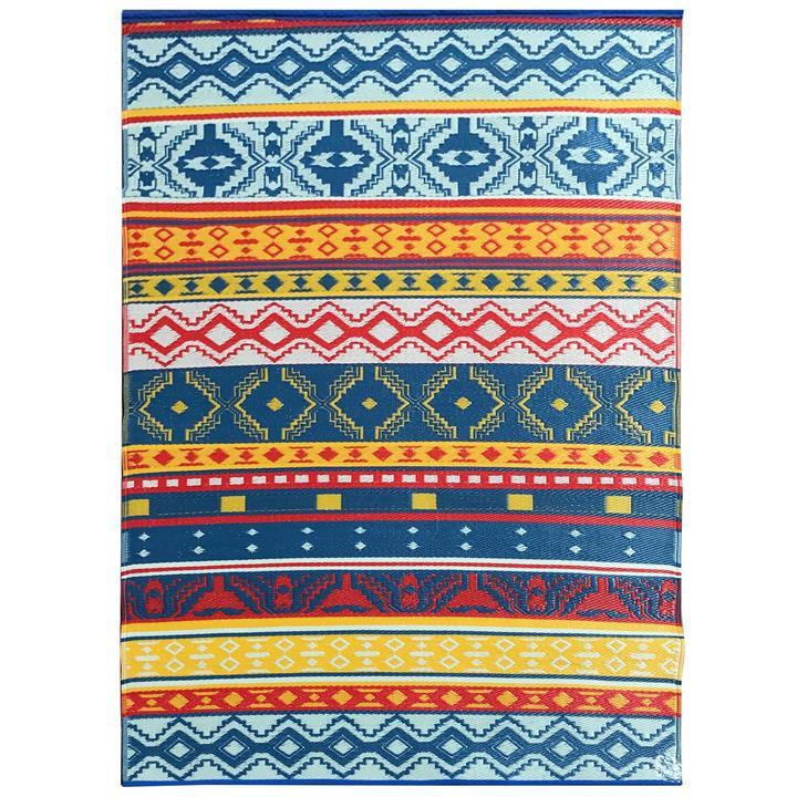Chatai Kuno Reversible Indoor / Outdoor Rug, 180x270cm, Blue / Yellow