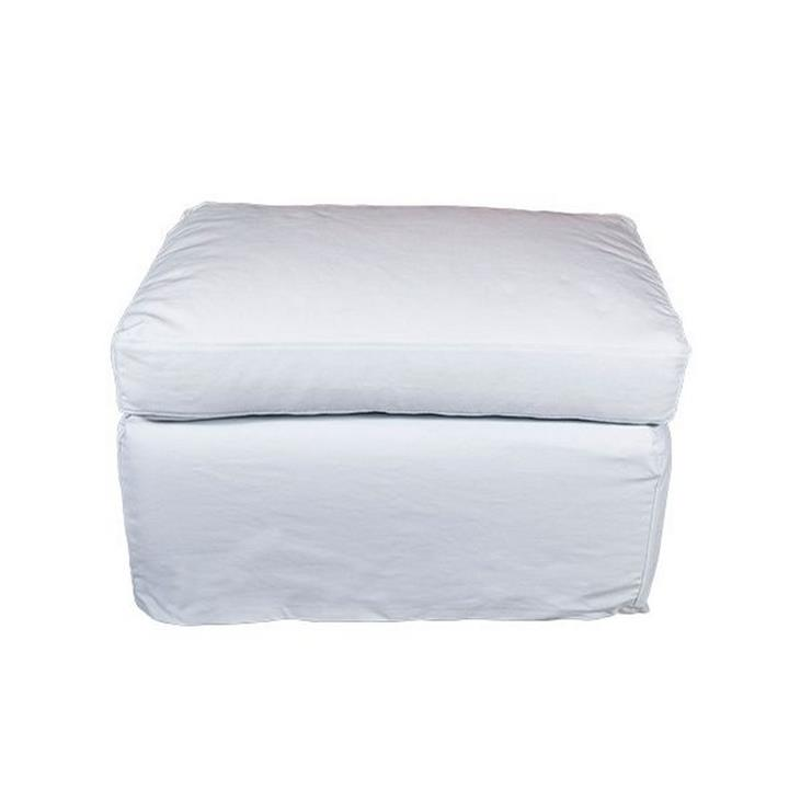 Dume Cotton Ottoman Slipcover, Cover Only, White