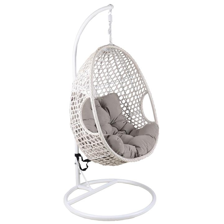 Hakim Wicker Hanging Pod Chair, White