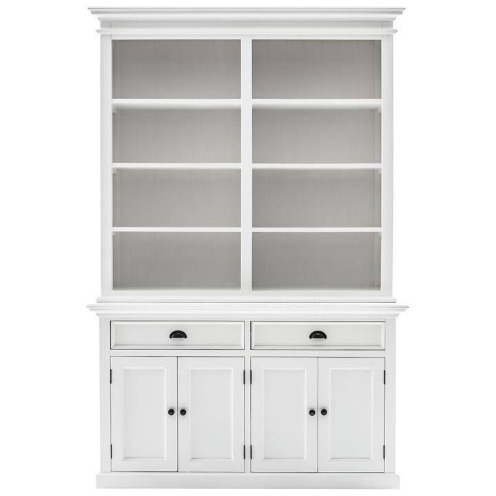 Halifax Mahogany Timber 4 Door 2 Drawer Hutch Cabinet, Classic White