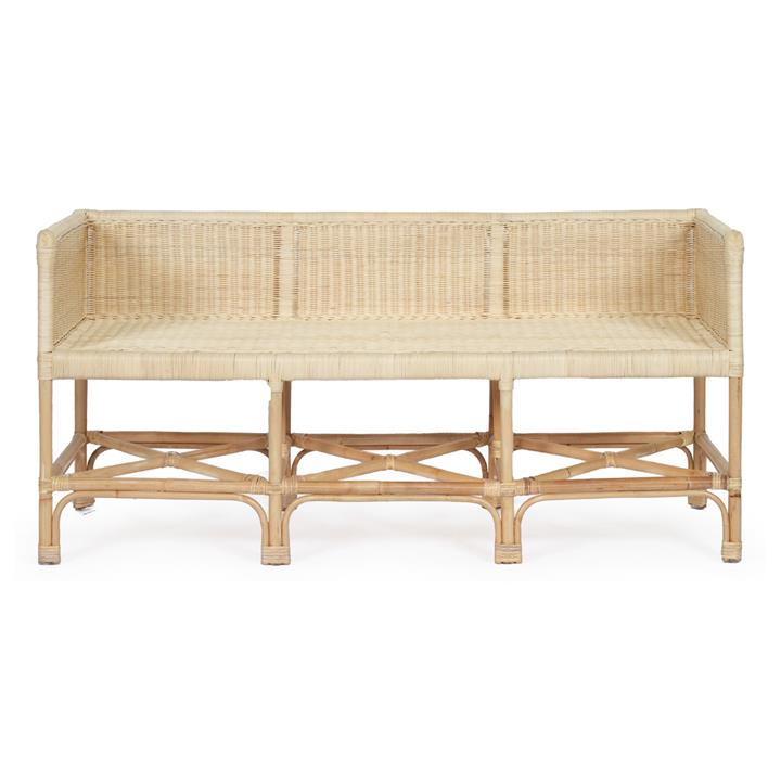 Isobelle Rattan Bench Sofa, 2.5 Seater