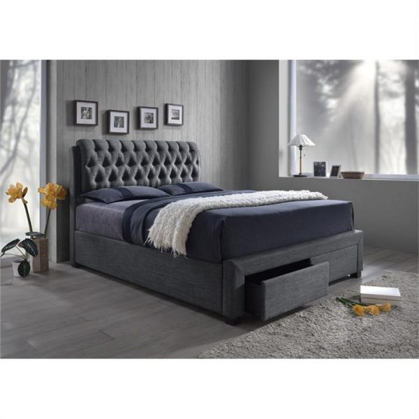 LivingStyles.com.au - Logan Fabric Upholstered Queen Bed with End Drawers - Bed Frames