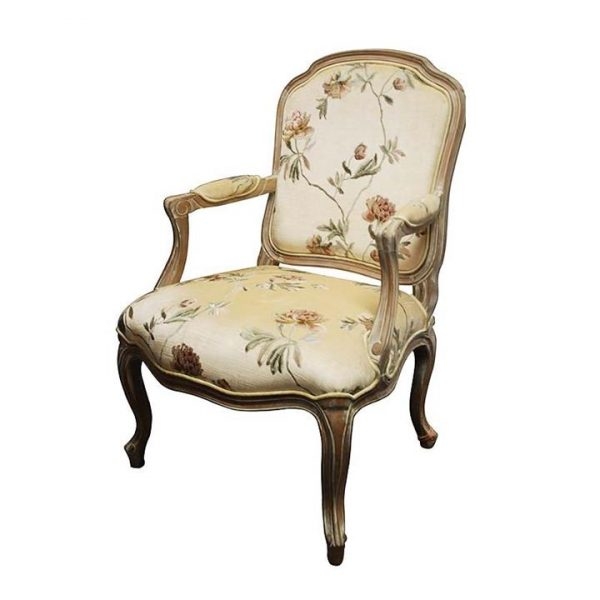 LivingStyles.com.au - Louis XV Floral Fabric Upholstered Solid Beech Timber Armchair - White Wash - Armchairs