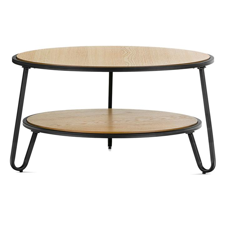 Macy Wood Stainless Steel Round Coffee Table 73 5cm Light Oak Black Sales Coupons Deals