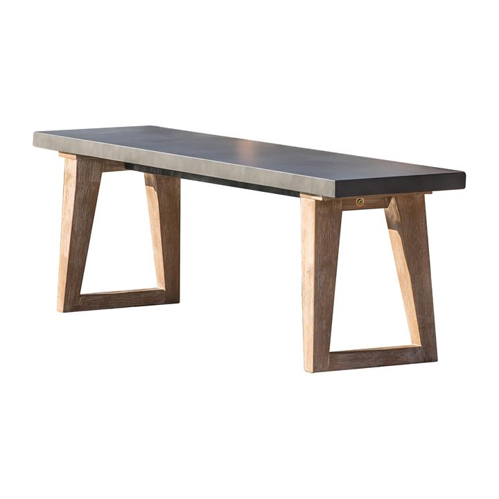 Maricca Concrete Top Outdoor Dining Bench, 160cm