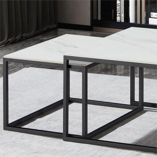 LivingStyles.com.au - Moor 3 Piece Sintered Stone & Metal Nested Coffee Table Set