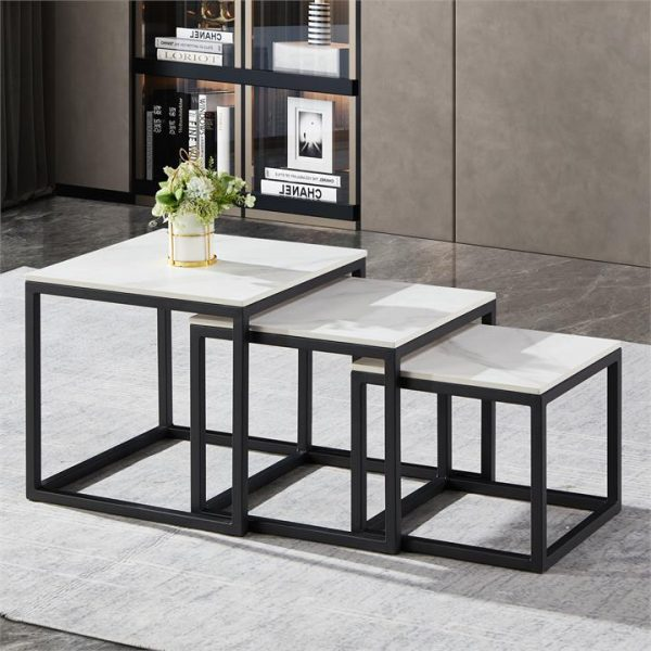 LivingStyles.com.au - Moor 3 Piece Sintered Stone & Metal Nested Side Table Set - Side Tables