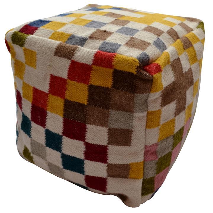 Pixel Handwoven Wool Square Pouf