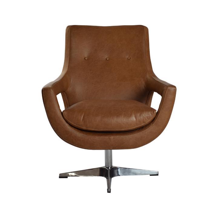 Rosetta Leather Swivel Armchair