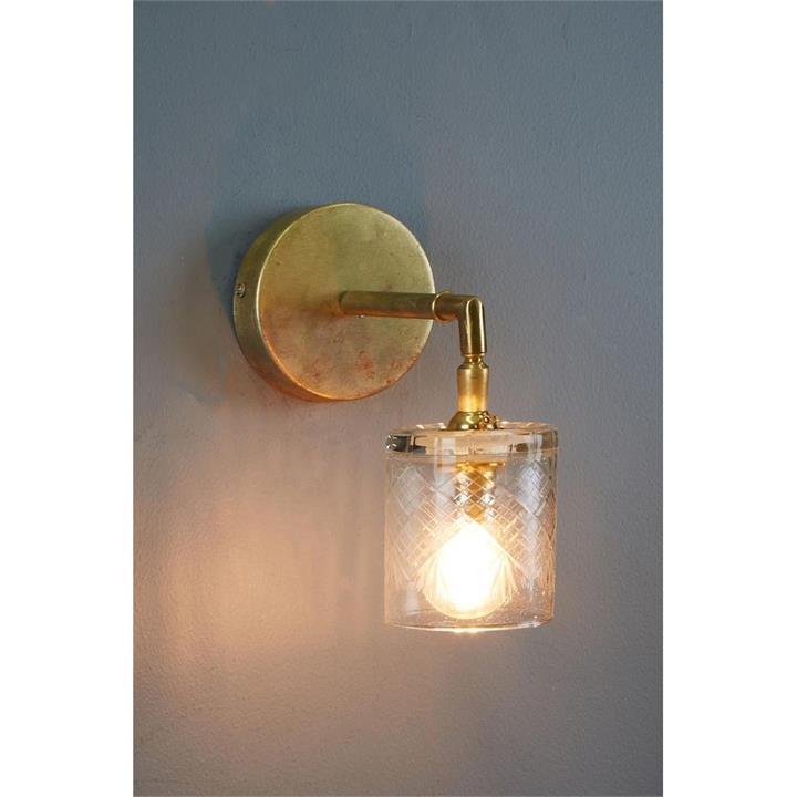 Scotch Hand Cut Glass Wall Light, Brass