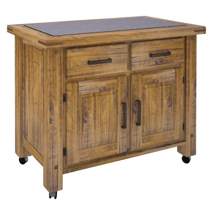 Serafin Rustic Pine Timber 2 Door 2 Drawer Kitchen Island, 108cm