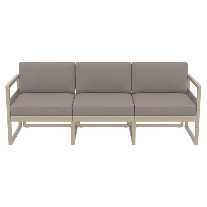 Siesta Mykonos Outdoor Sofa with Cushion, 3 Seater, Taupe / Light Brown