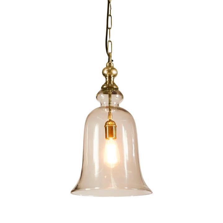 Tivoli Glass Pendant Light, Large, Brass